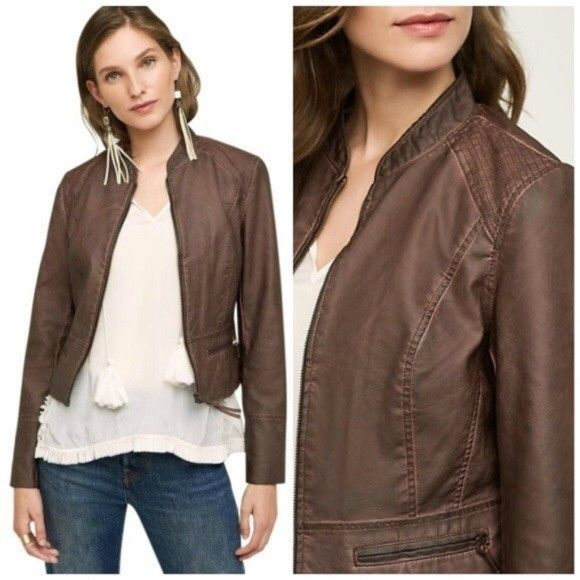 45a22d71e0db Anthropologie Dara Vegan Leather Jacket by Hei Hei Brown Size XS ...