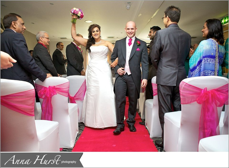 back down the aisle, fusion wedding civil wedding ceremony room set ...