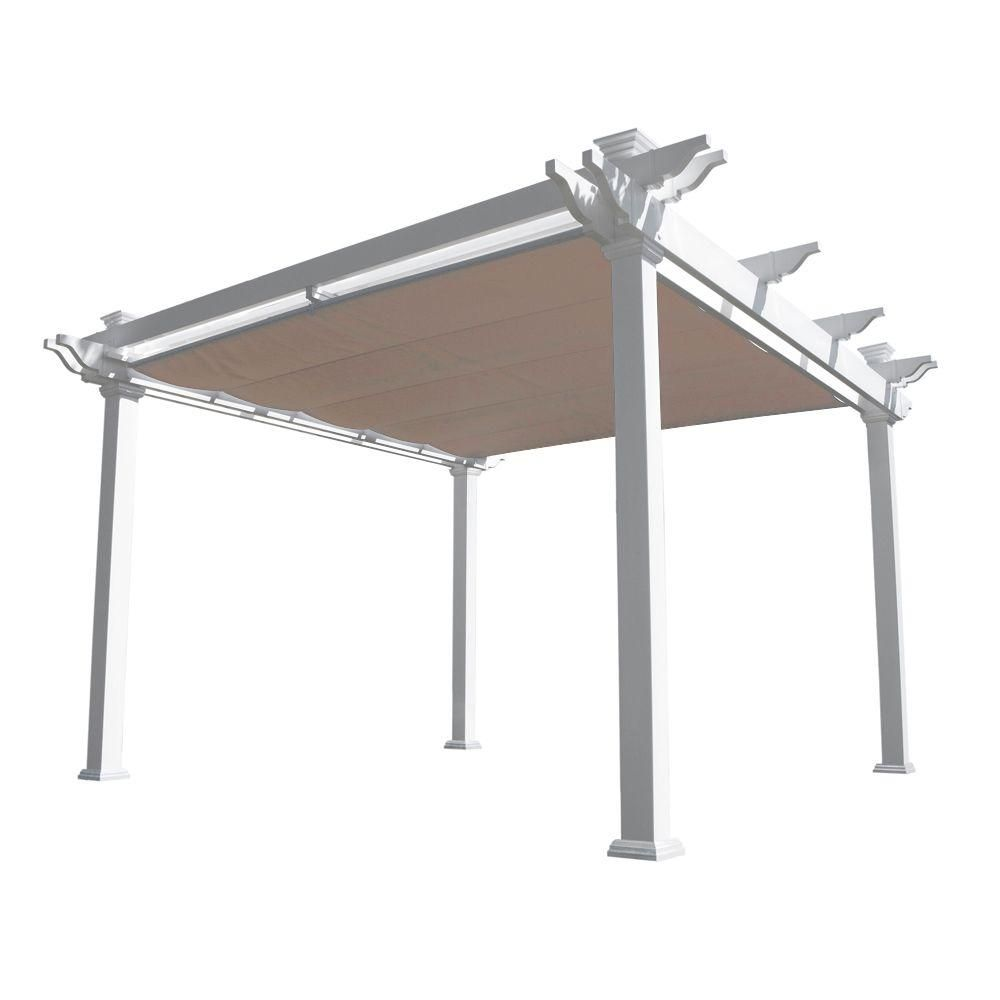 Weatherables Palmetto 12 Ft X 12 Ft White Double Beam Vinyl Pergola With Shade Canopy Ywpg Hdbfx5 12x12 The Home Depot Vinyl Pergola Pergola Shade Louvered Pergola