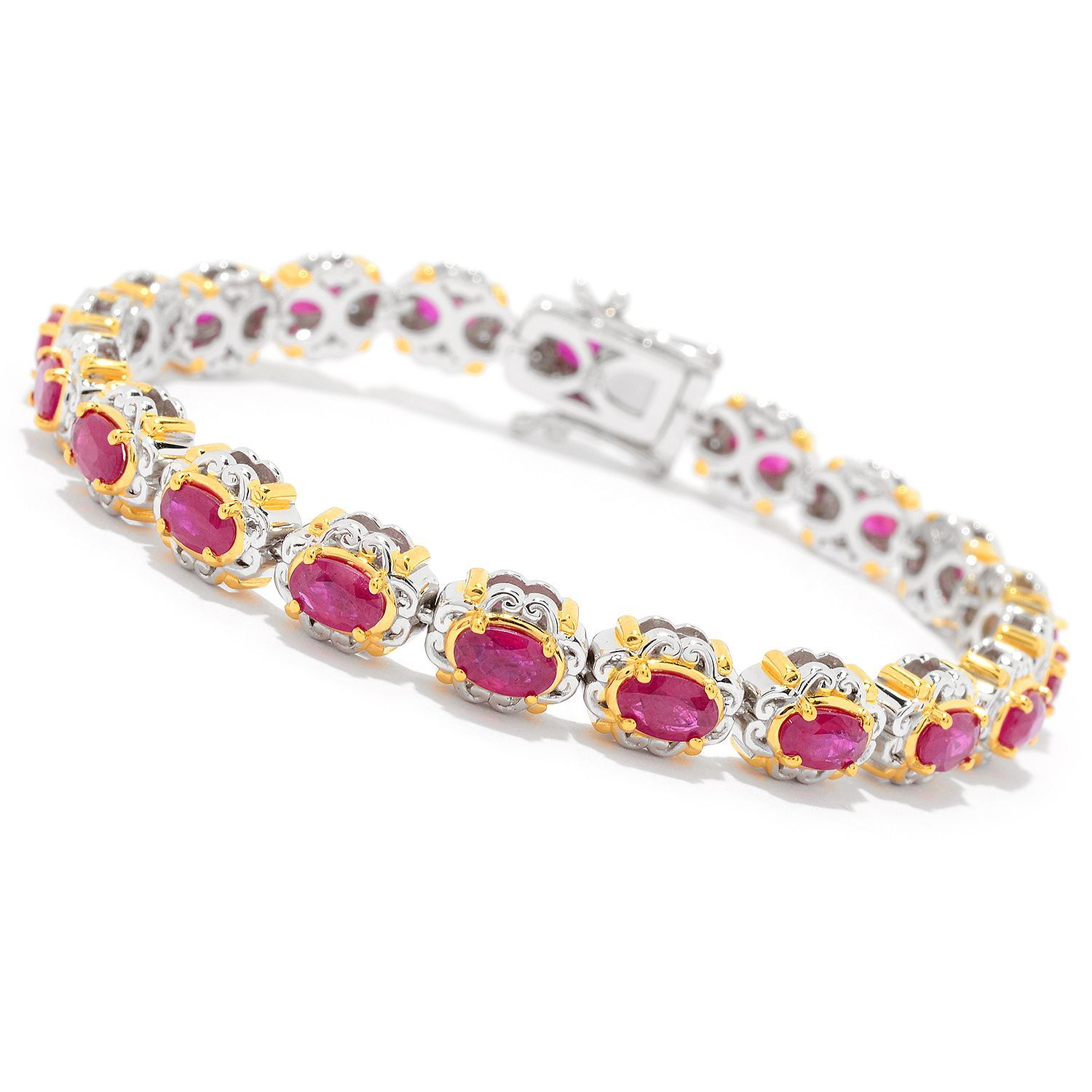 real diamond ruby gold yellow bracelet tennis and natural