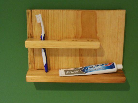 Simple Wood Toothbrush Holder Bathroom Shelf New