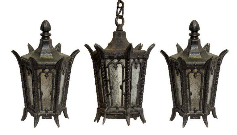 Set Of Lamp Post Tops Entry Lantern Lamp Post Iron Lamp Post Hanging Pendant Lantern