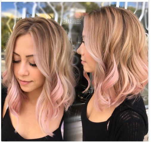 Here Are Models Of Mid Length Hair New Inspire Yourself Light Pink Hair Pastel Pink Hair Balayage Hair