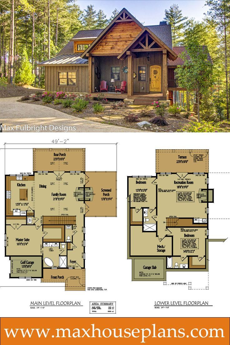 Small cabin home plan with open living floor plan in 2018 for Log cabin floor plans with garage