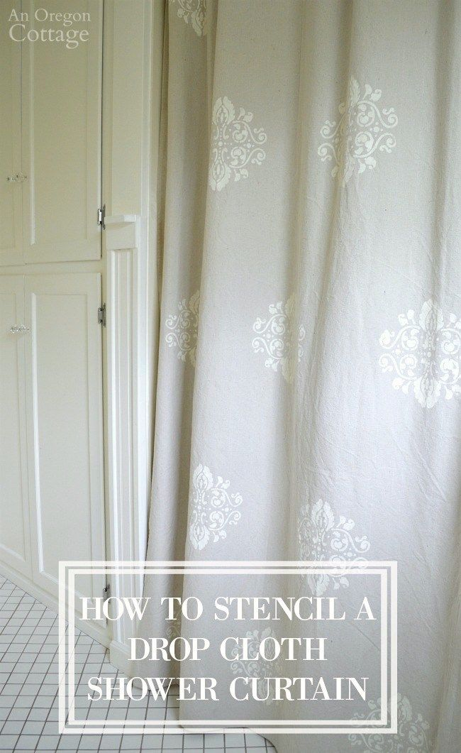 How To Easily Stencil A Drop Cloth Shower Curtain Give Your Home Custom Designer Look For Pennies