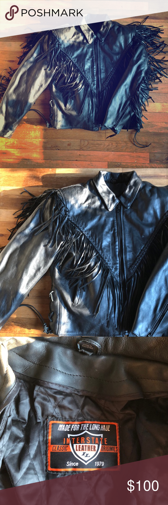 Interstate Leather Black Fringe Motorcycle Jacket Black Fringe Motorcycle Jacket Leather Motorcycle Jacket [ 1740 x 580 Pixel ]