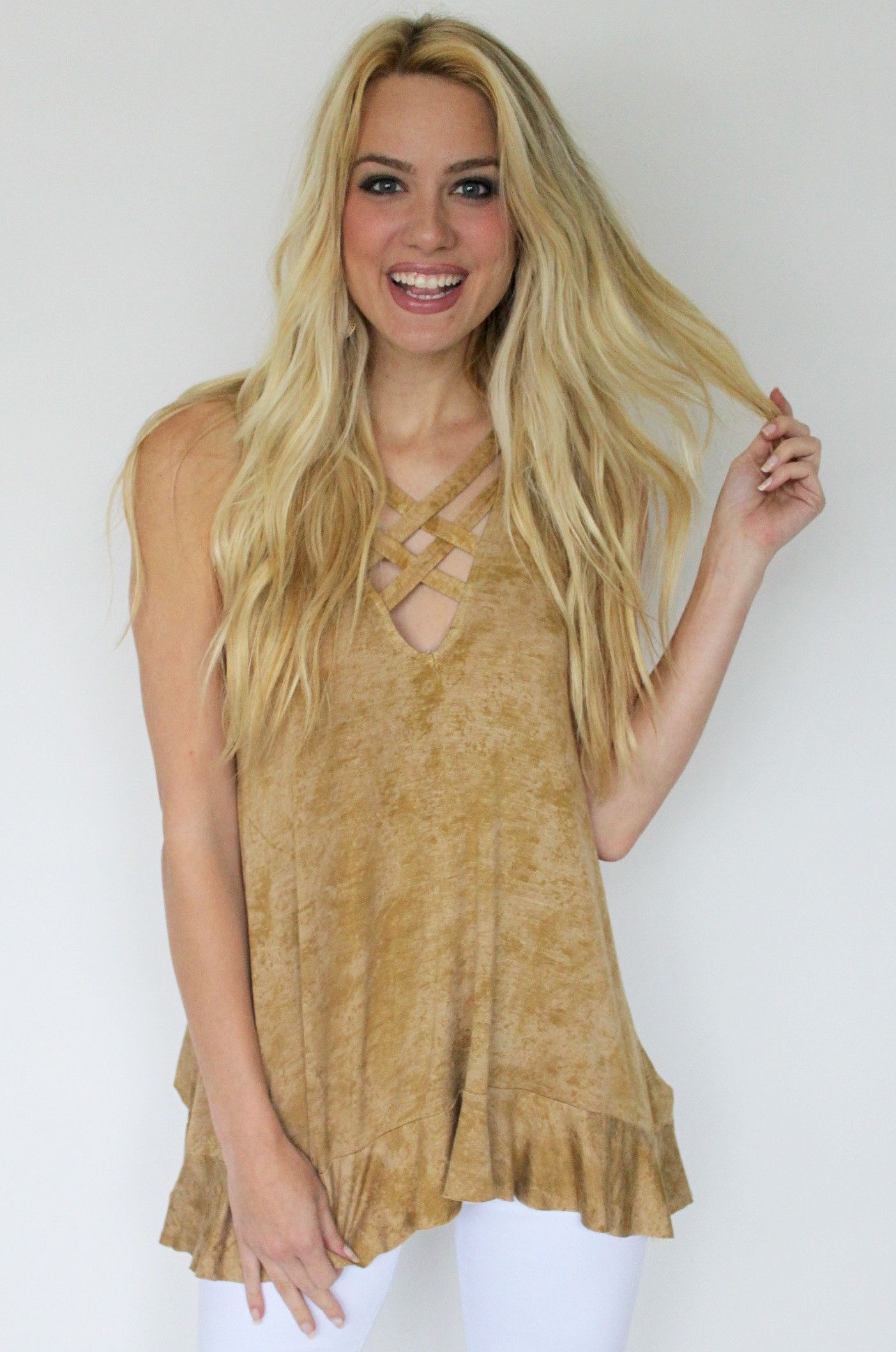 Camel Tank Top with Criss-Cross Front