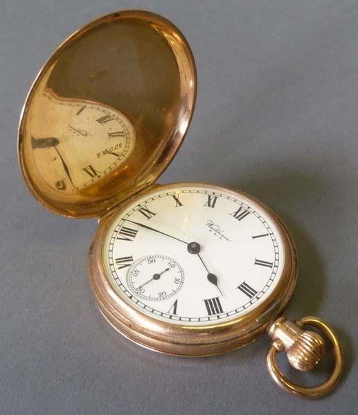 waltham 39 traveller 39 9ct gold hunting cased pocket watch. Black Bedroom Furniture Sets. Home Design Ideas