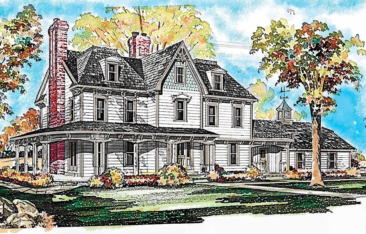 Plan 81027w Gothic Victorian Style House Plan Victorian House Plans Victorian Farmhouse Victorian Homes
