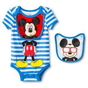 c32a856947dd Disney Mickey Mouse Newborn Bodysuit   2 Bibs - Blue