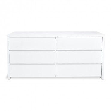 Fresco Glossy White Dresser 64 W X 20 D X 30 H 6 Drawers White Lacquer Dresser White Dresser Beige Carpet Bedroom
