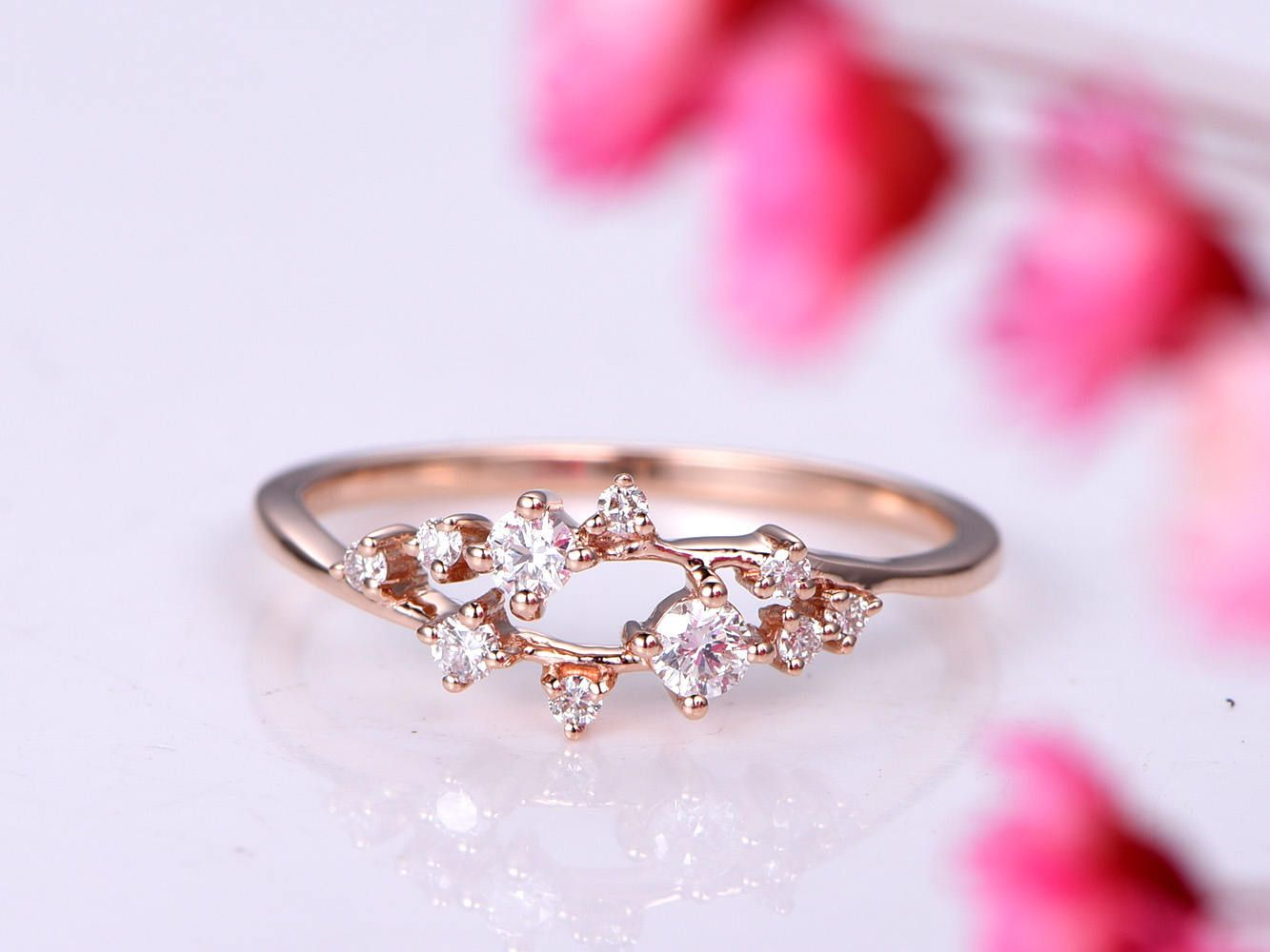 Diamond ring diamond engagement ring wedding band sakua design ...