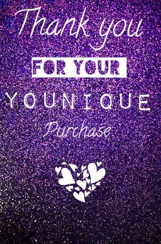 Thank You For Your Younique Purchase Order Purple Glitter Flash