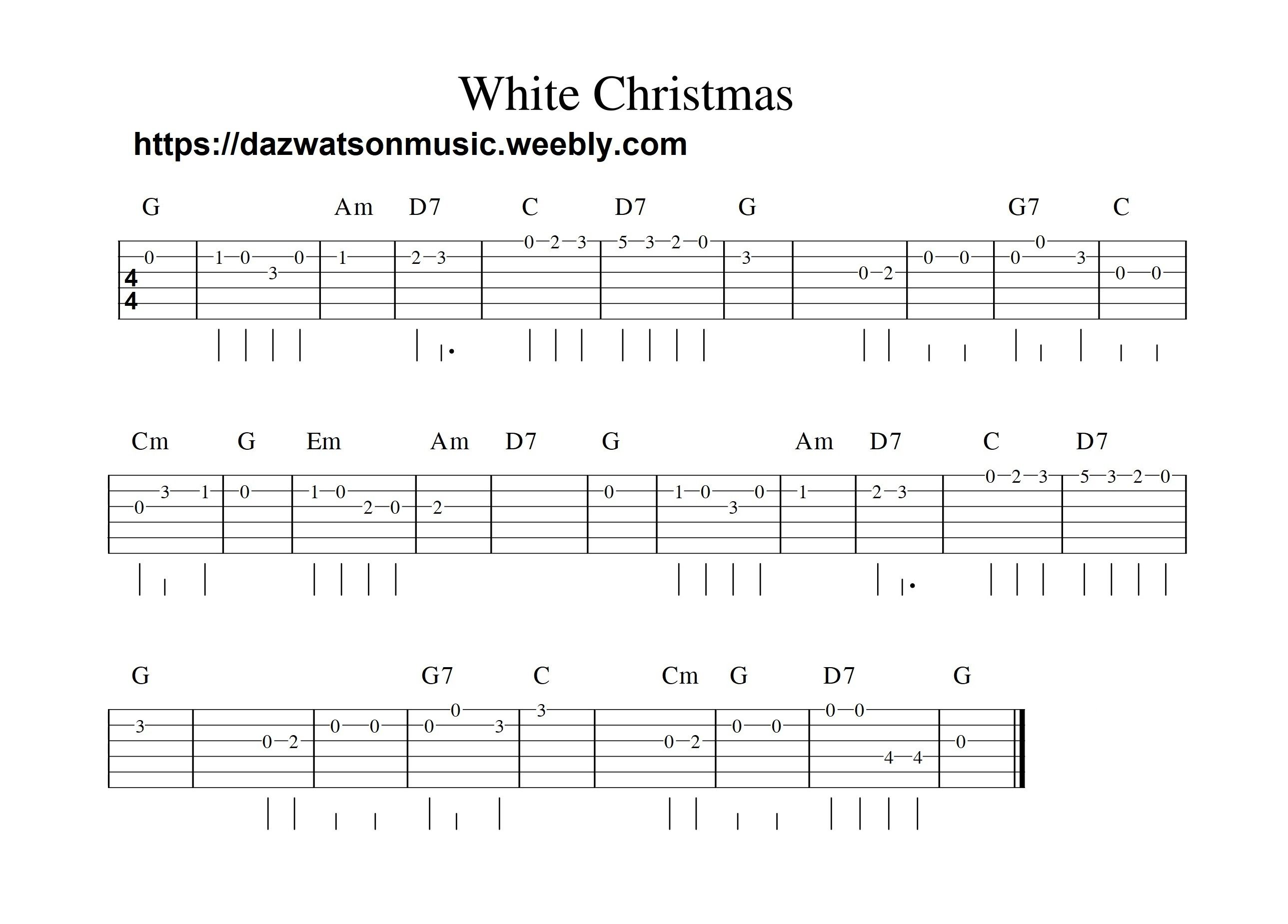 White Christmas Easy Guitar Tab Guitar Tabs Guitar Tabs Songs Guitar Tabs And Chords