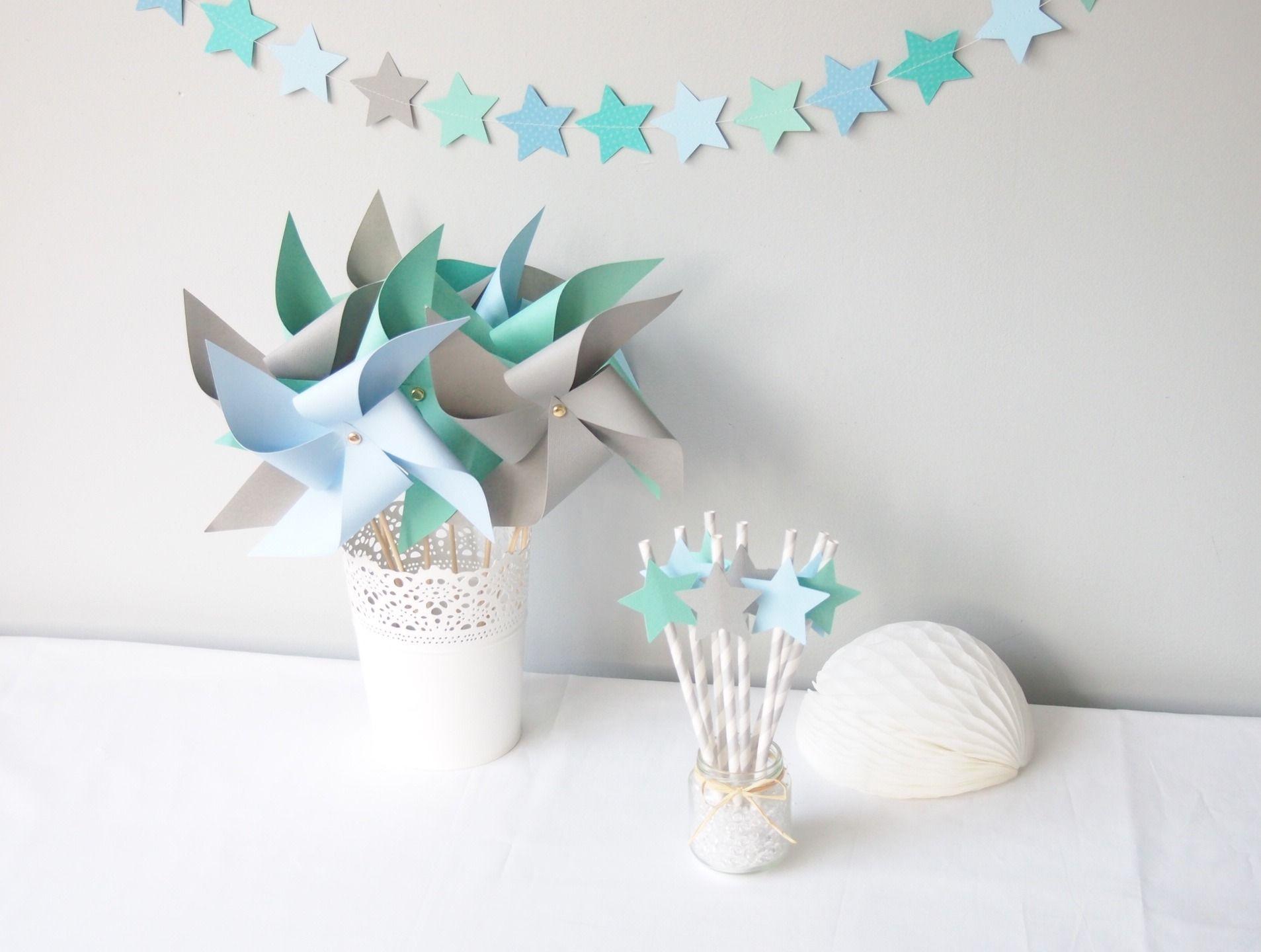 kit d coration toil bleu ciel gris et vert d 39 eau pour d coration bapt me anniversaire. Black Bedroom Furniture Sets. Home Design Ideas