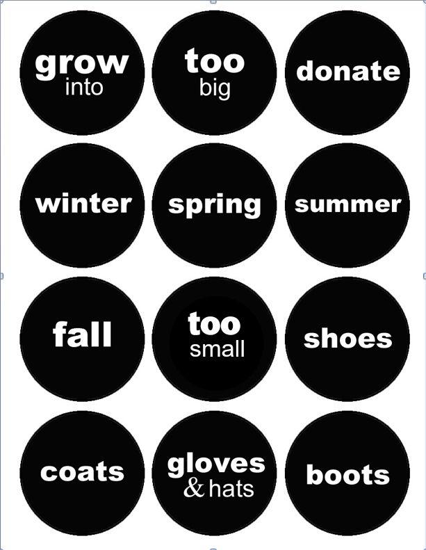 Printable Clothing Organization Labels Kids Clothes Organization