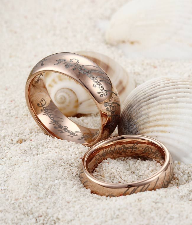 couples rose gold plating the lord of the rings tungsten rings wedding band set tungsten republic - Lord Of The Rings Wedding Ring