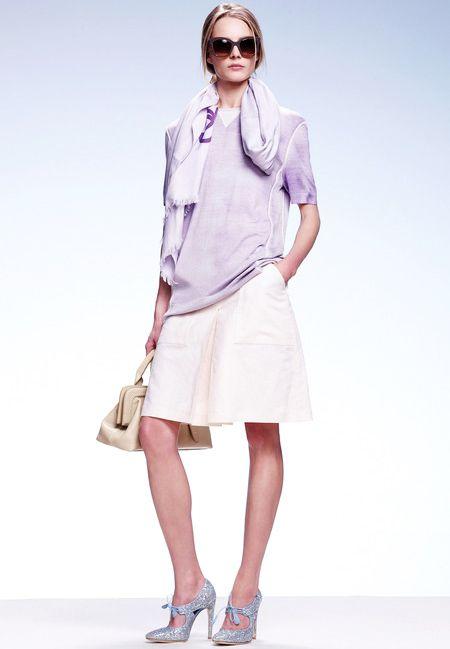 Pastel color-block top and skirt with scarf & glitters pumps   Bottega Veneta Resort 2015 #Resort2015
