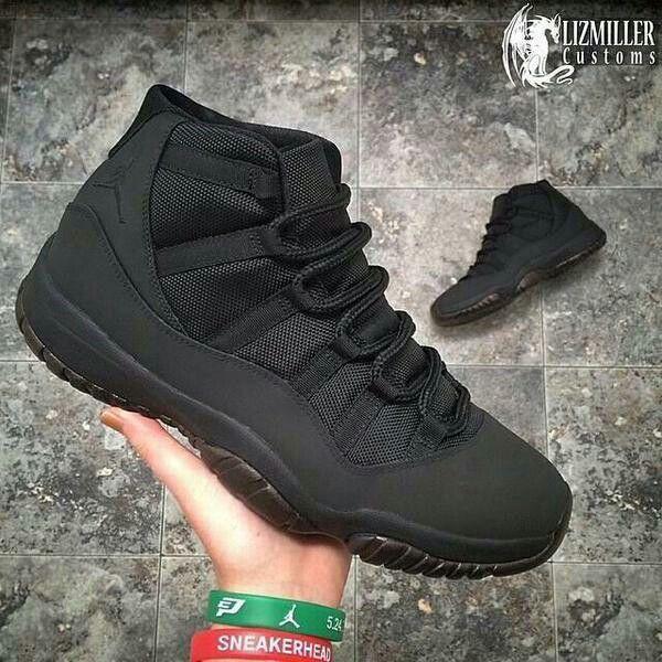 uk availability e124d 1632e ... Matte Black Custom Air Jordan 11 ...
