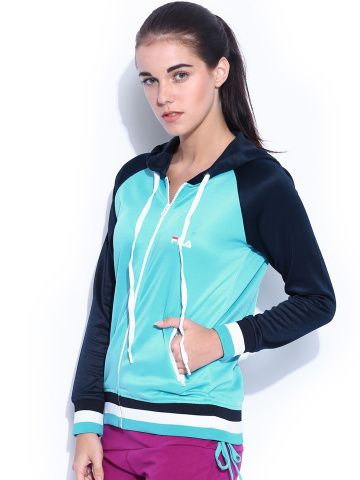 Myntra FILA Women Blue Courtney Hooded Training Jacket 718785   Buy ...