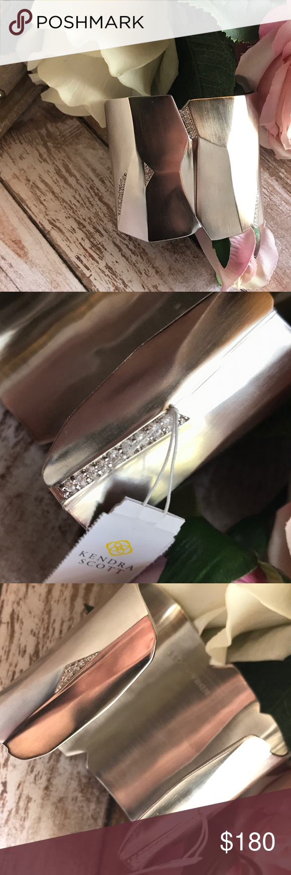 """Stunning! Kendra Scott Constance Cuff in Silver Absolutely stunning silver """"Constance"""" cuff from Kendra Scott is an artisanal work of art. Made from hand-faceted Rhodium silver with crystal pave accents. Comes with jewelry bag and care instructions. NWT Kendra Scott Jewelry Bracelets"""