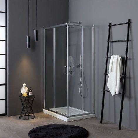 MAYA Cabine de douche H 190 cm en verre transparent 75x75