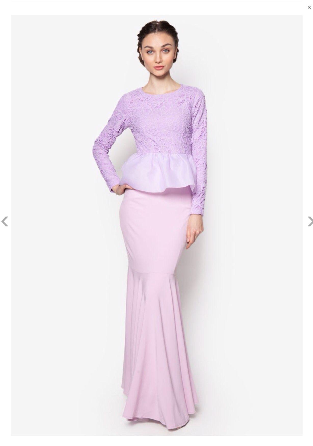 Top: lace peplum, round neck Bottom: flare mermaid skirt   Baju ...