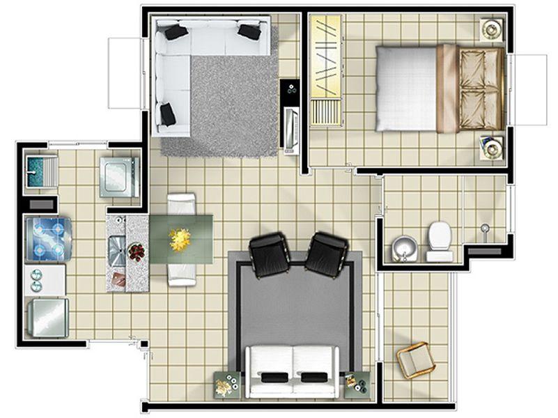 Projeto apartamento pequeno planta projetos - Disenos de apartamentos pequenos ...