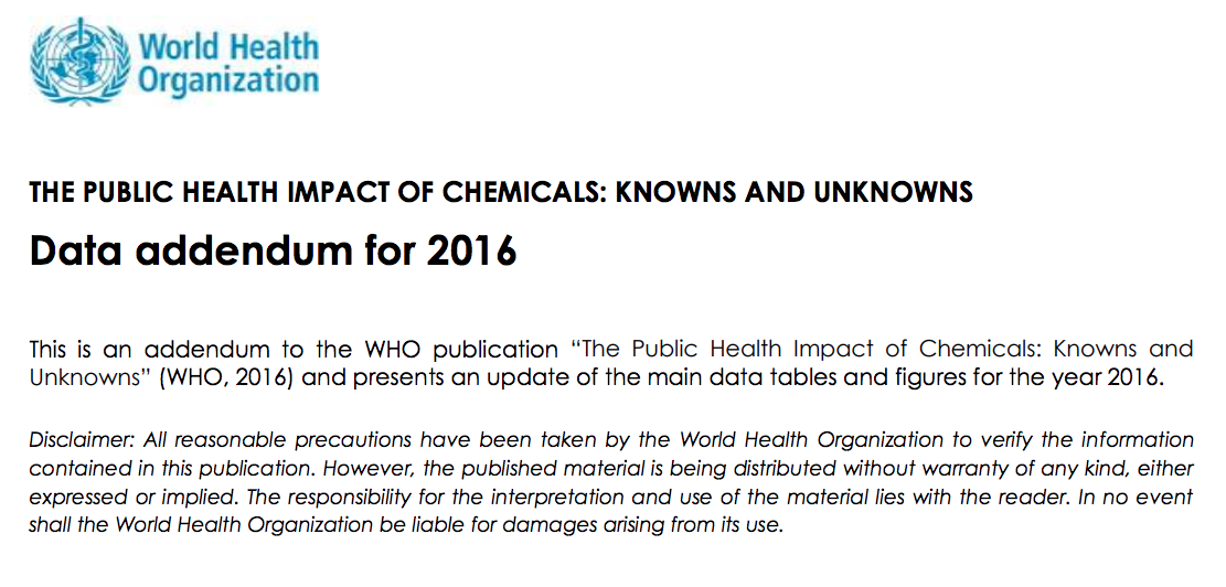World Health Organization 2018a Public Health Impact Of Chemicals Knowns And United Nations Environment Programme Public Health World Health Organization