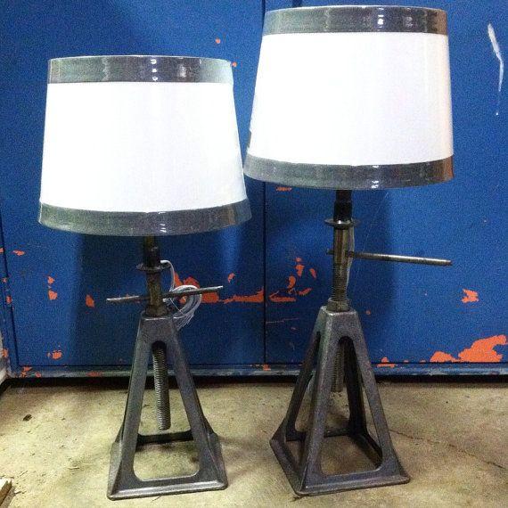 Light Jack Stand: Pair Of Vintage Industrial Jack Stand Desk By