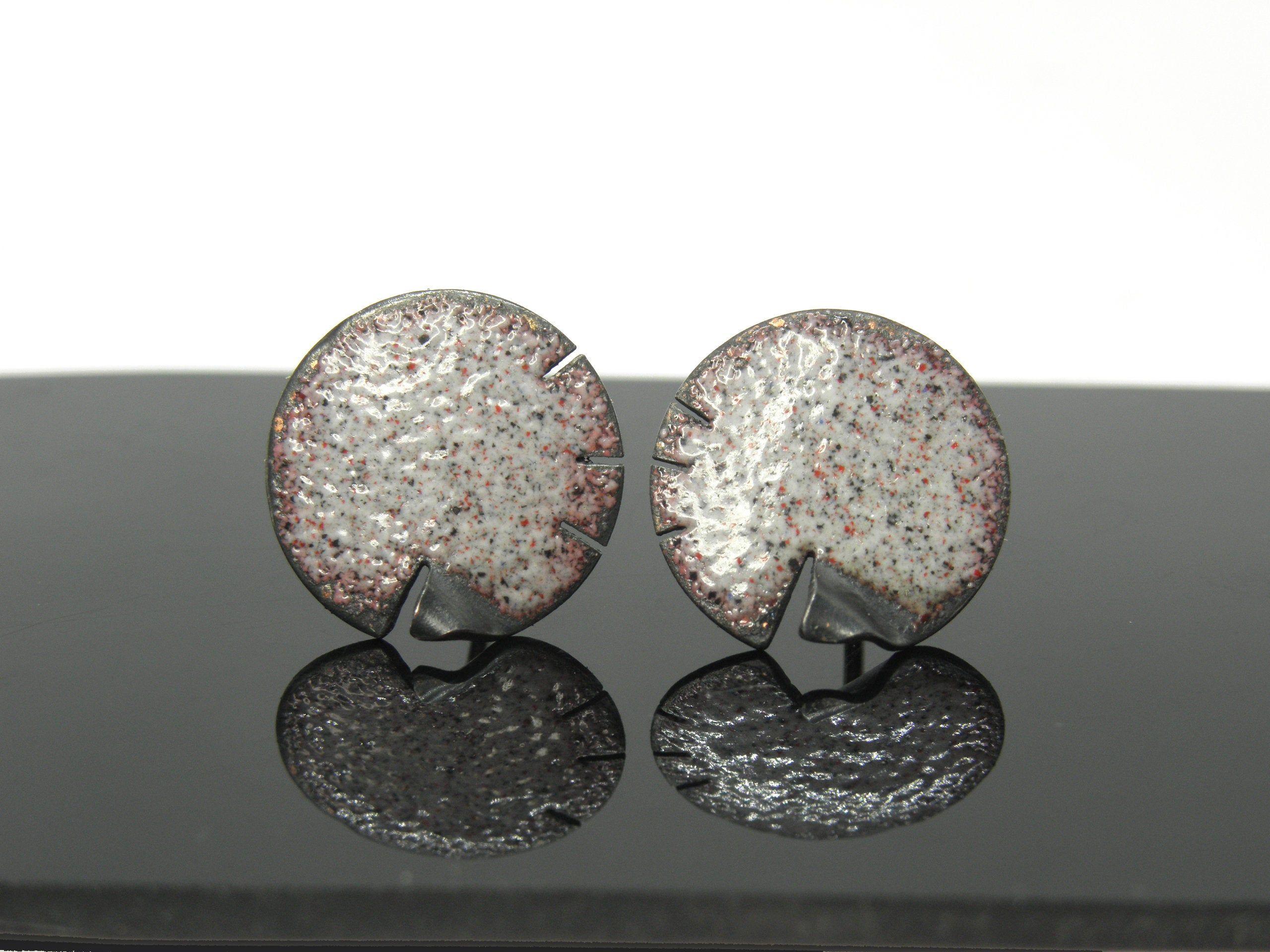 1 6 Cm Small Copper Enamel Earrings Art Handmade Jewelry
