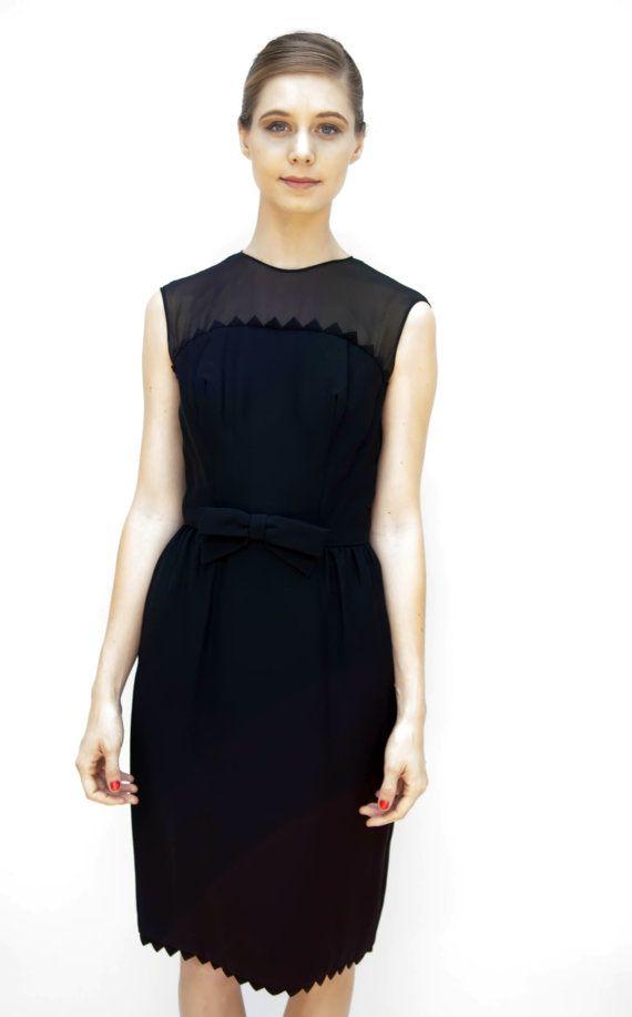 4261644ec1e Vintage 1950s Dress - Vamp - Black Crepe Dress with Spiked Hem and ...