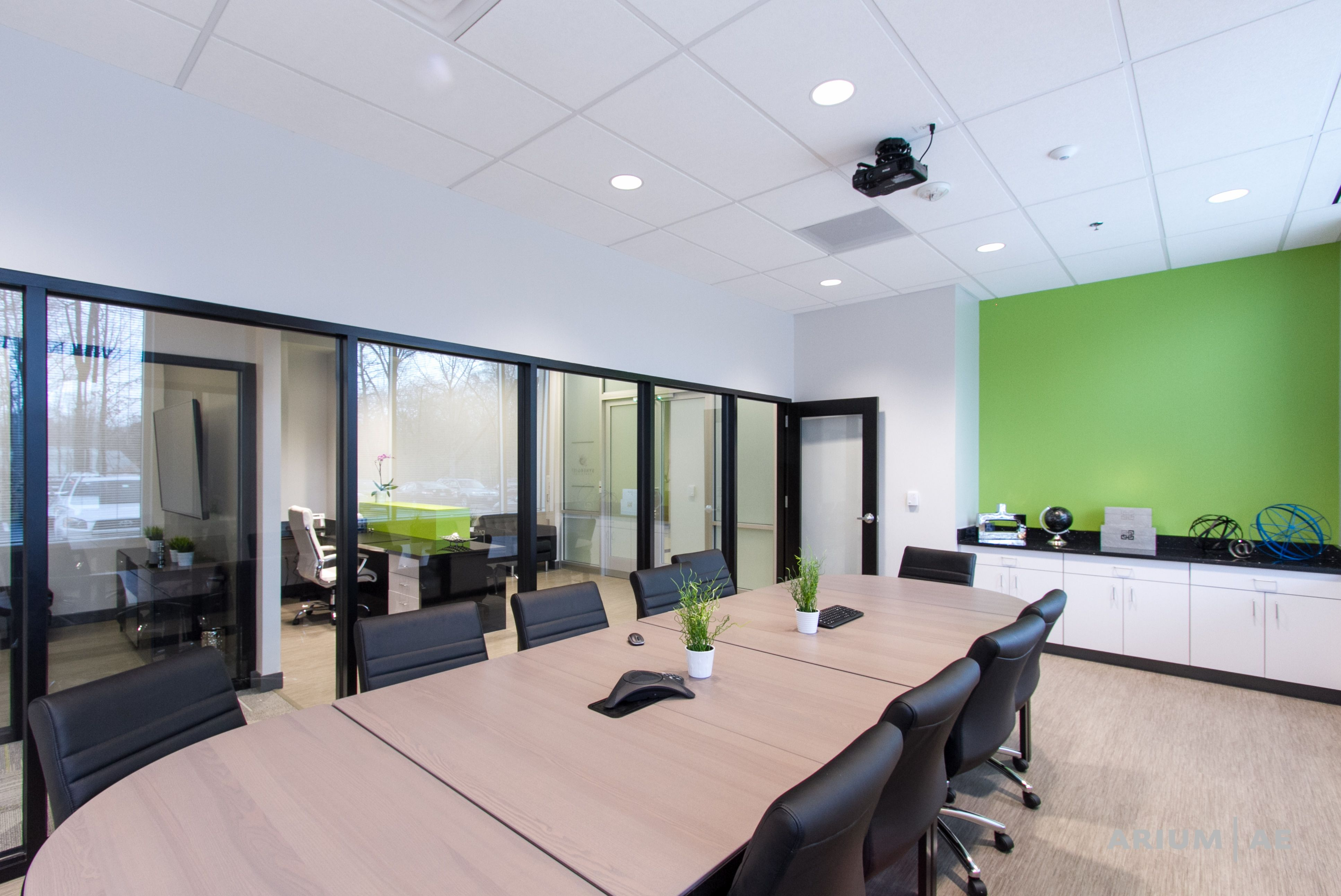 Green Accent Wall Conference Room With Green Accent Wall Built In Millwork