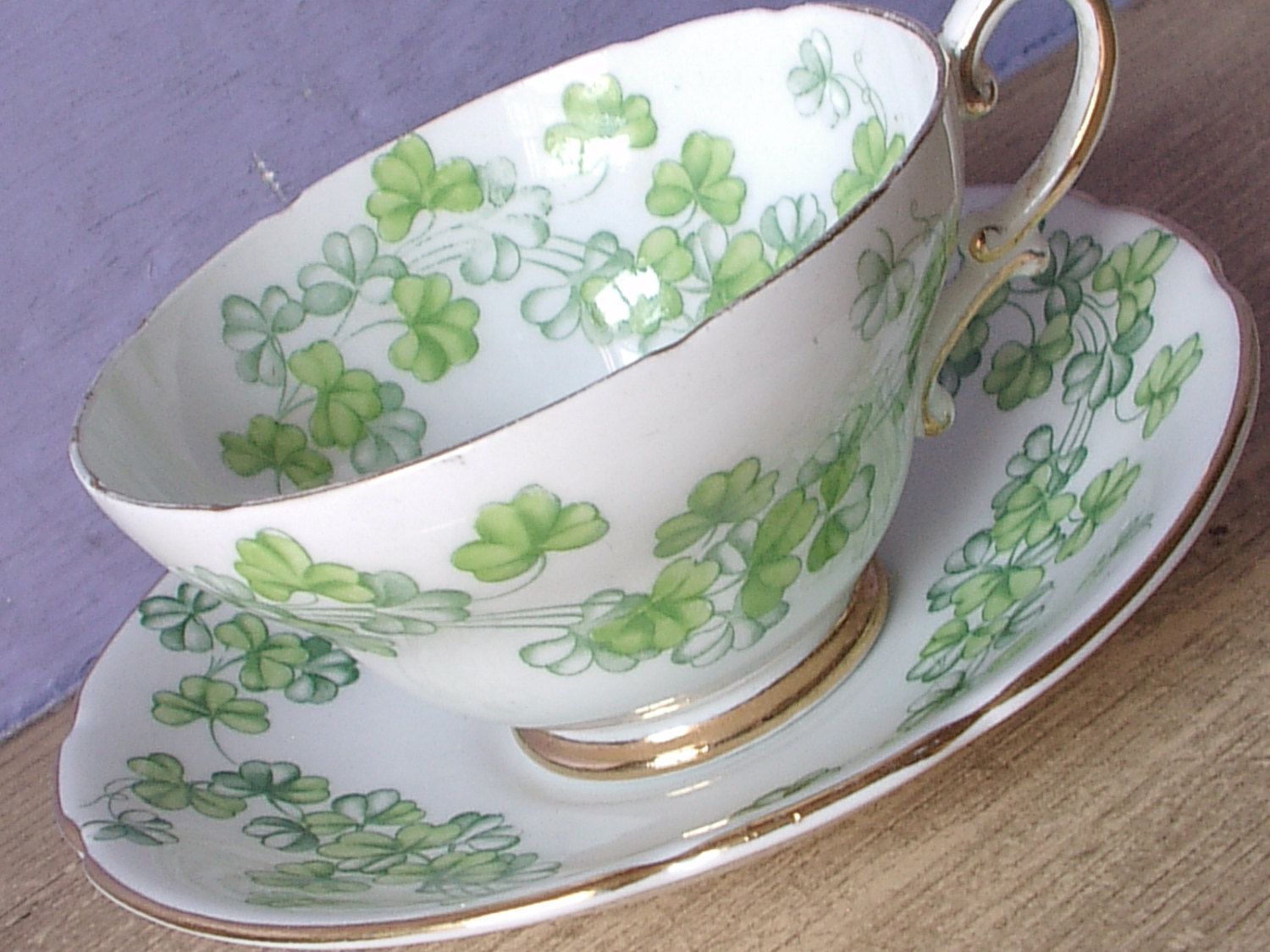 Vintage 1950's Irish tea cup and saucer, Stanley shamrock tea cup, Harp, Green and white bone china tea cup, English teacup, Antique teacup by ShoponSherman on Etsy