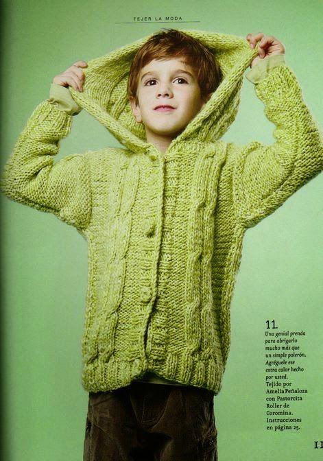 Patrones gratis de tejido: saco de niño con capucha en dos agujas ...