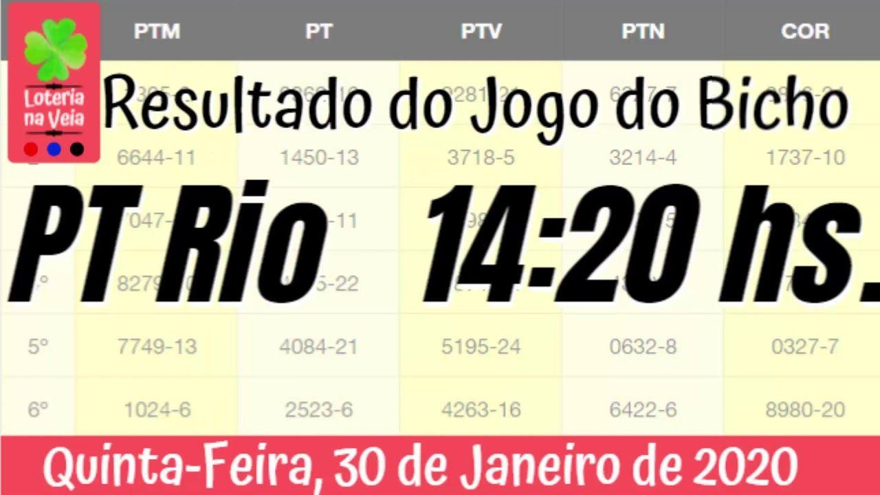 PT Rj 14 Hs Jogo do Bicho Resultado de quinta feira 30 01 2020 em 2020 |  Jogos, Resultado jogo, Loteria