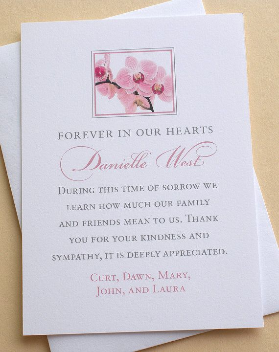 Sympathy Thank You Card With Pink Orchids  Personalized  Flat
