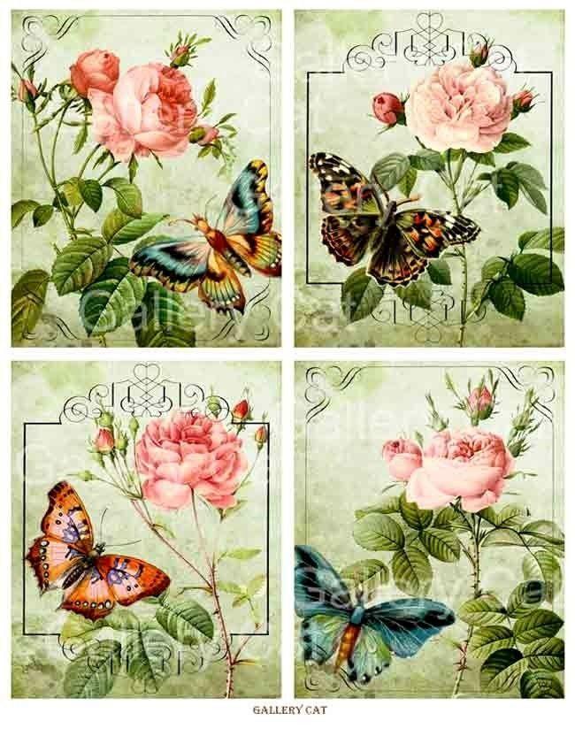 Scrapbook feuille Artisanat Vintage Papillons Papier de riz pour decoupage