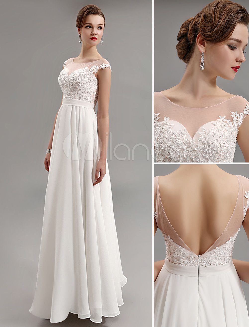 Ivory chiffon illusion neck floor length evening dress with open