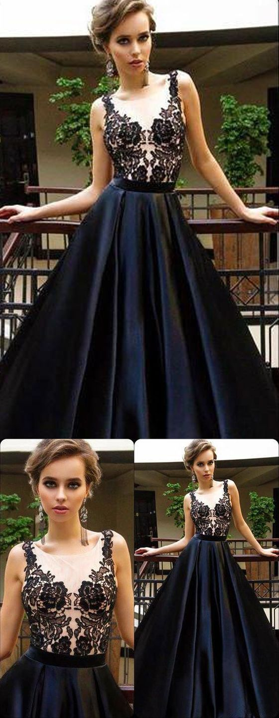 black appliques sexy see through long aline cheap prom dresses