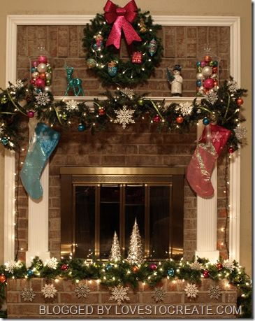 Using inexpensive ornaments from Target & TJ Maxx to decorate the mantel  and hearth - Using Inexpensive Ornaments From Target & TJ Maxx To Decorate The