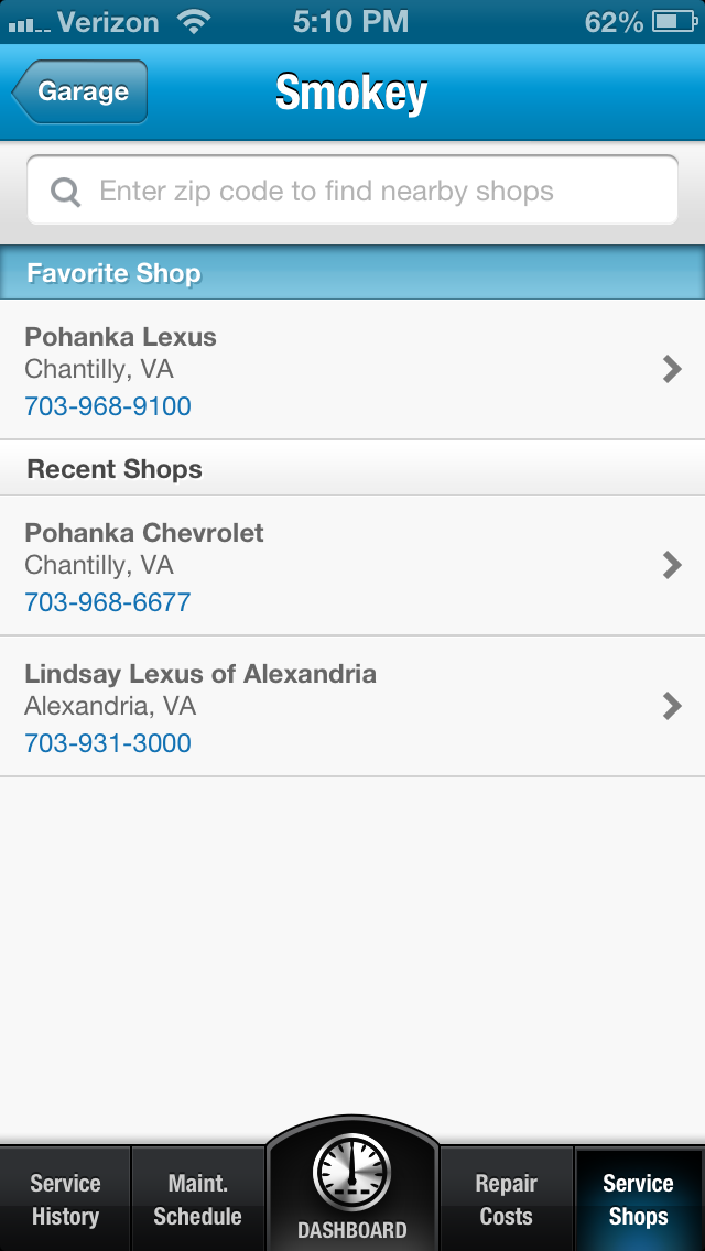 Add your favorite service location to myCarfax! Car