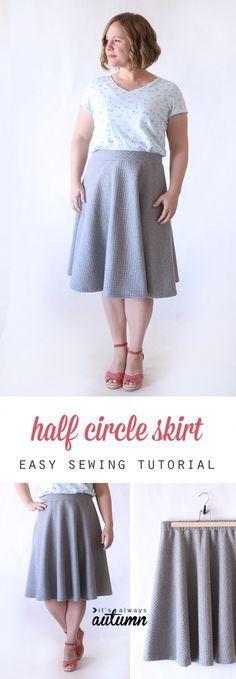 easy half circle skirt sewing tutorial   Circle skirts, Tutorials ...