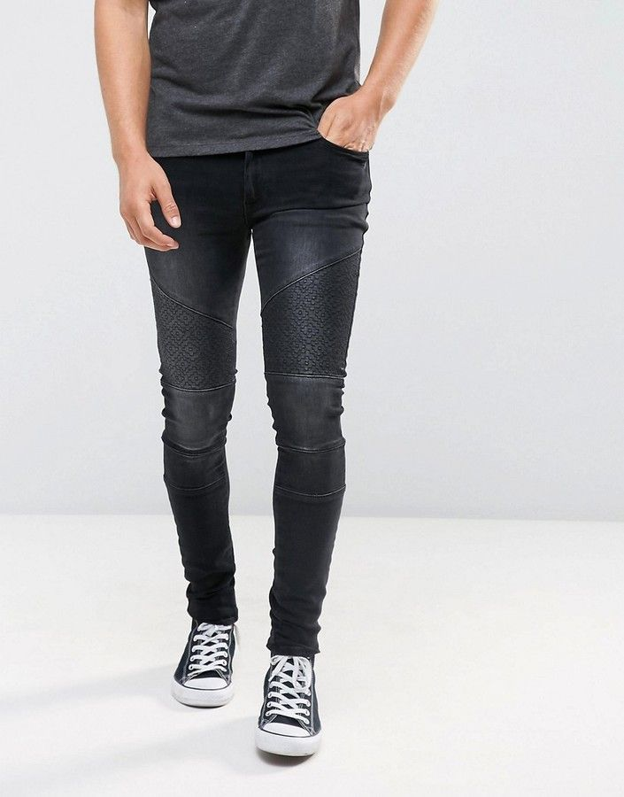 60f23e649e44 Asos Extreme Super Skinny Jeans In Washed Black With Embroidery And Biker  Detail