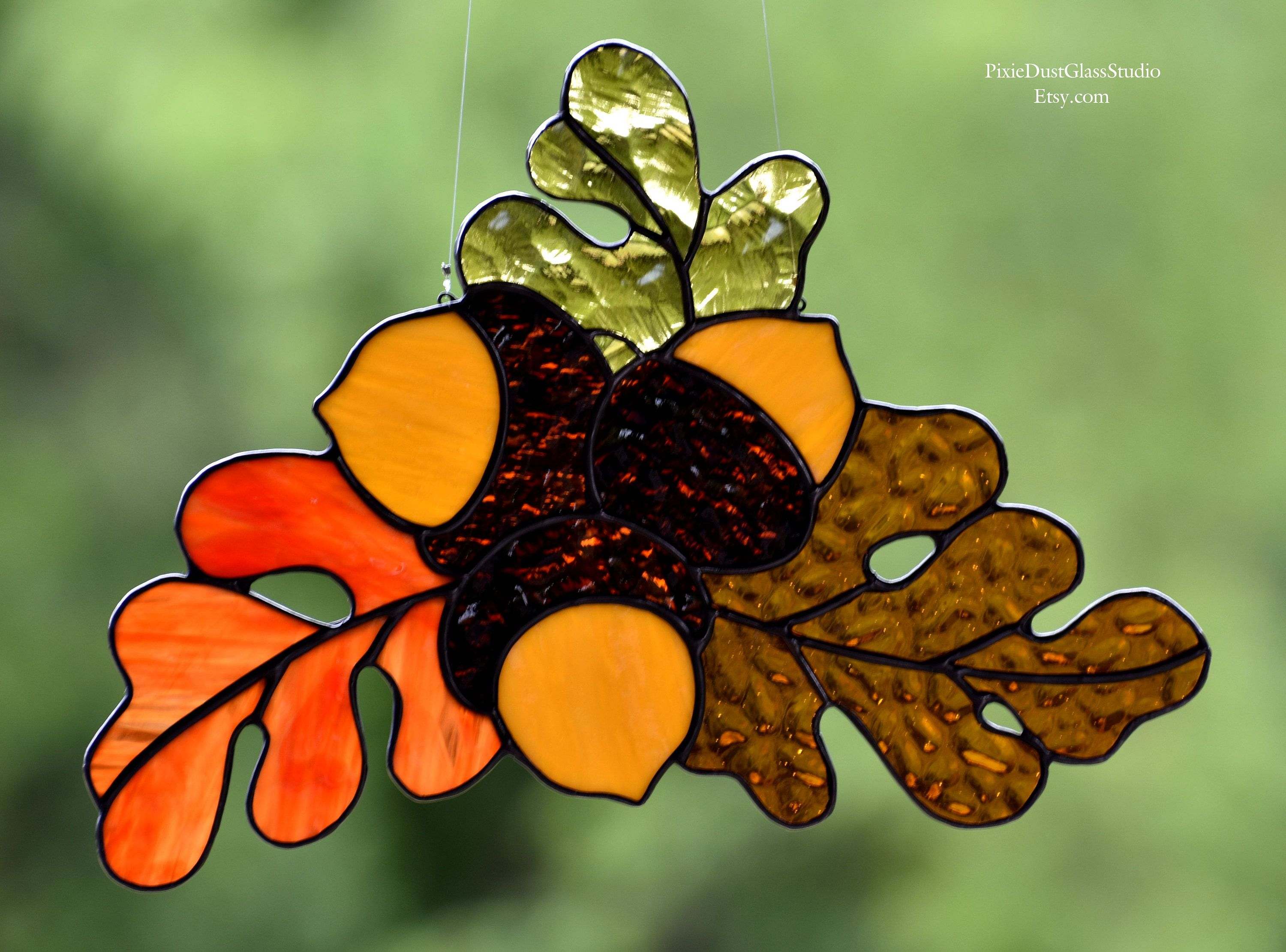 Stained Glass Suncatcher, Autumn Oak Leaves and Acorns, Fall Colors ...
