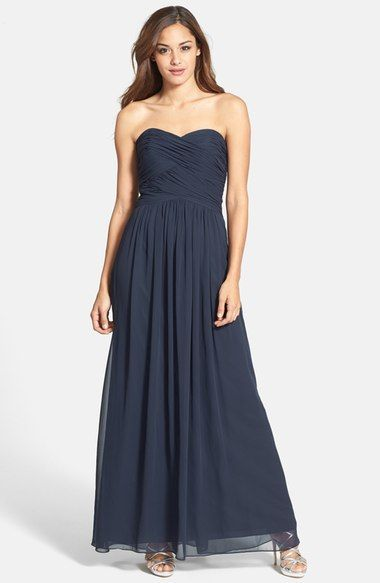 Dessy Collection Strapless Ruched Chiffon Gown available at #Nordstrom