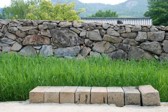 Stone Wall Bench Seat Wall Exterior Dry Stone Wall Landscape Timbers