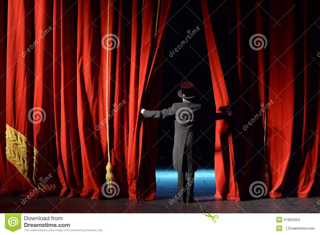 Photo About Actor In A Tuxedo Opens The Stage Curtain In The