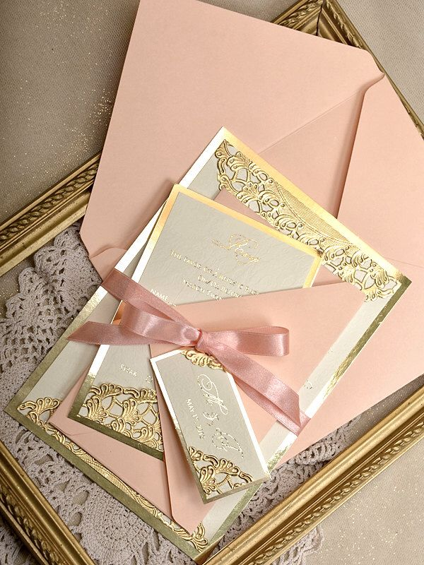 Custom Listing 20 Gold And Peach Wedding Invitation