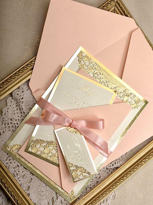 Peach Wedding Invitations, Glitter Invitations, Coral Lace, Gold Lace, Gold  Glitter, Wedding Coral, Peach Weddings, Peaches, Quinceanera